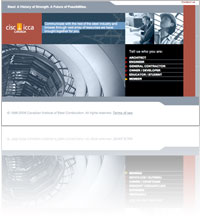 A snapshot of Canadian Institute of Steel Construction (CISC/ICCA) website