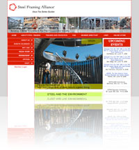A snapshot of The Steel Framing Alliance (SFA) website